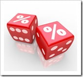 Interest Percent Sign on Dice Signs Gamble for Best Rate